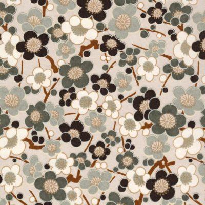 Papier japonais chiyogami fleurs de pruniers noires et blanches
