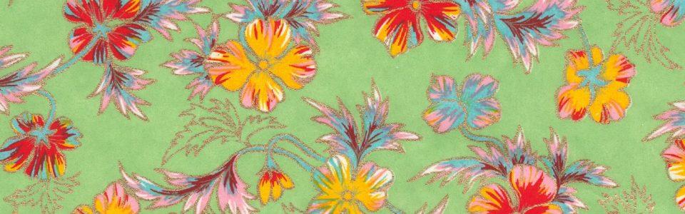 Papier japonais fond turquoise fleurs oranges et rouges