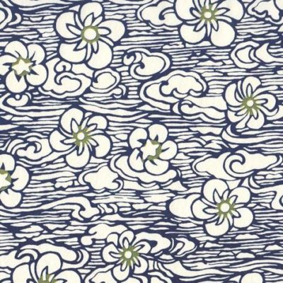 Image-papier japonais fond blanc impression bleueA