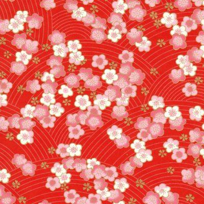 Papier japonais fond rouge fleurs de pruniers soses