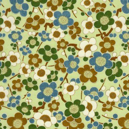 Papier japonais fleurs vertes et bleues