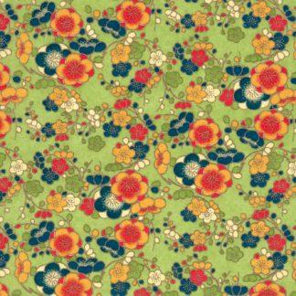 Papier japonais chiyogami vert fleurs oranges et bleues