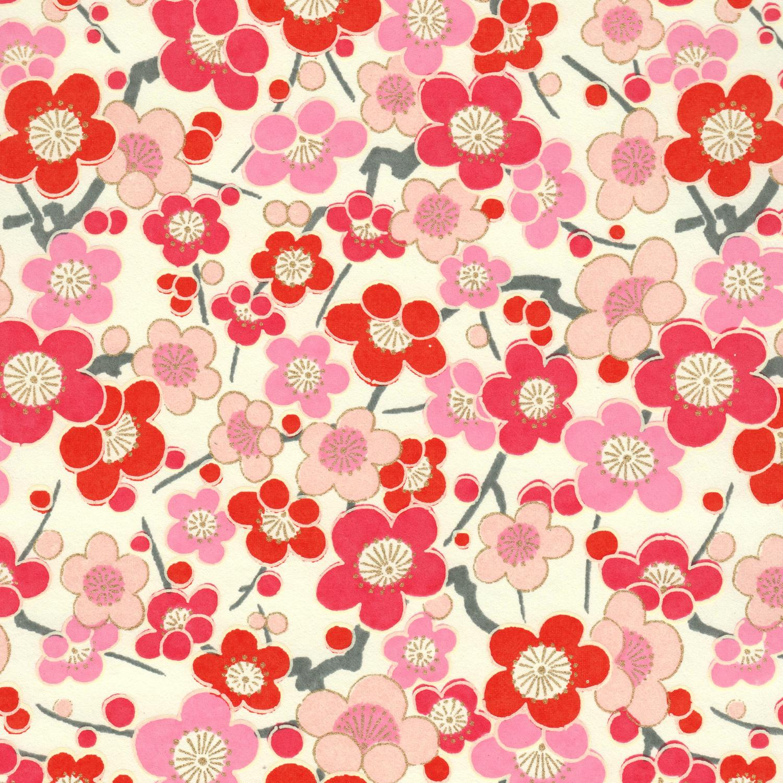 Papier jpoanis faluers de pruniers roses rouges et blanches