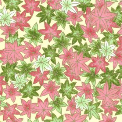 Image-Papier japonais, chiyogami (yuzen), fond beige, sérigraphie de feuilles roses et vertes