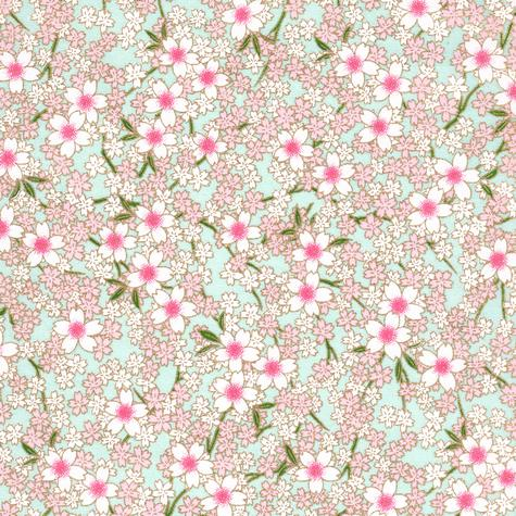 Image-papier japonais, chiyogami (yuzen), fond bleu pâle, sérigraphie de petites fleurs de cerisiers roses et blanches