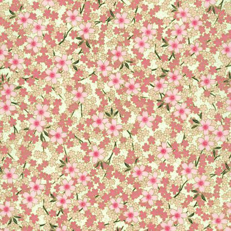 Image-Papier japonais, chiyogami (yuzen), fond blanc, sérigraphie de branches de cerisiers dans un camaieu de roses