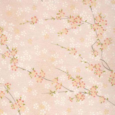 Image-papier japonais, chiyogami (yuzen), fond blanc, sérigraphie  de branches de cerisiers rose