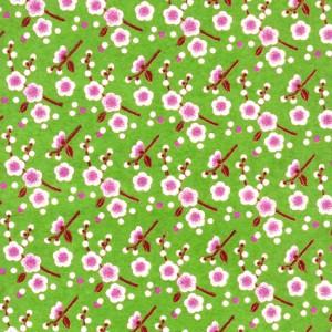 papier-japonais-chiyogami-yuzen-fond-vert-serigraphie-de-fleurs-de-pruniers-blanches-au-coeur-rose