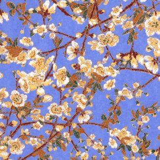 Papier japonais fond bleu fleurs de cerisiers blanches