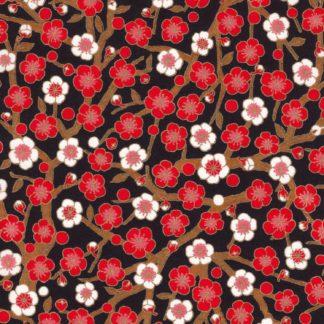 Papier japonais fond noir fleurs rouges et blanches