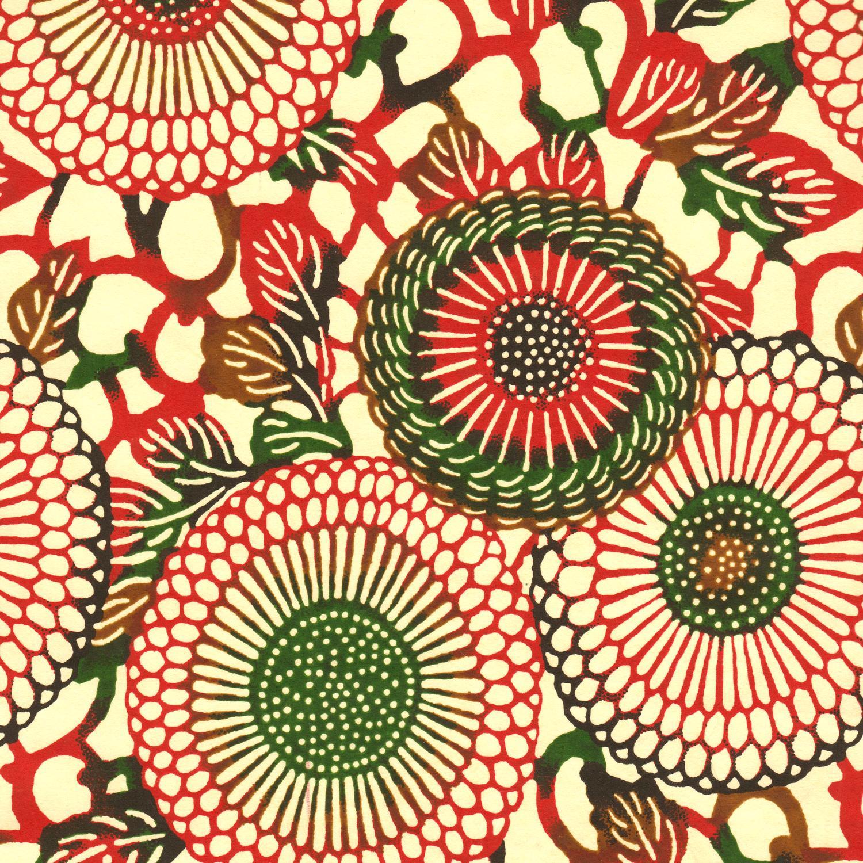 Papier japonais rosaces rouges et vertes
