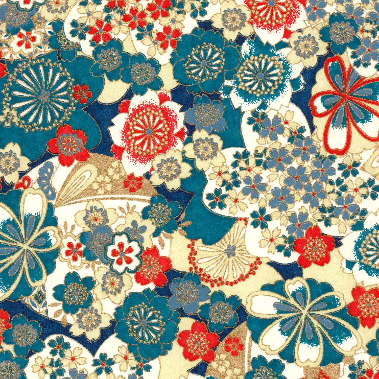 Papier japonais fleurs turquoises et oranges