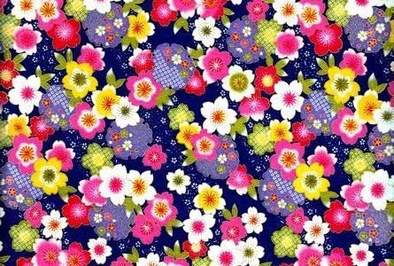 Papier japonais fleurs de pruniers multicolores