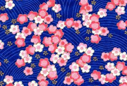 Papier japonais fond bleu roi, fleurs roses