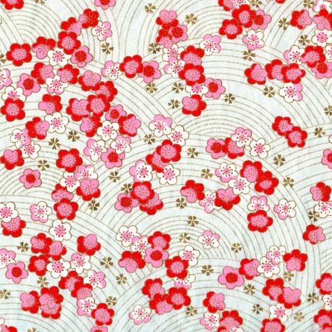 Papier japonais, chiyogami, (yuzen), fond bleu clair, sérigraphie de fleurs de pruniers roses et blanches