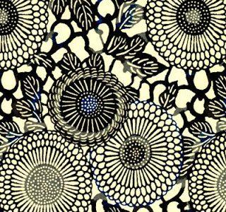 Papier japonais fond blanc rosaces bleues, noires et grises