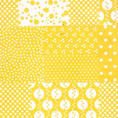 Papier népalais jaune, motifs géométriques blancs