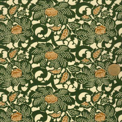Papier japonais aux fleurs de lotus vertes au cœur marron.