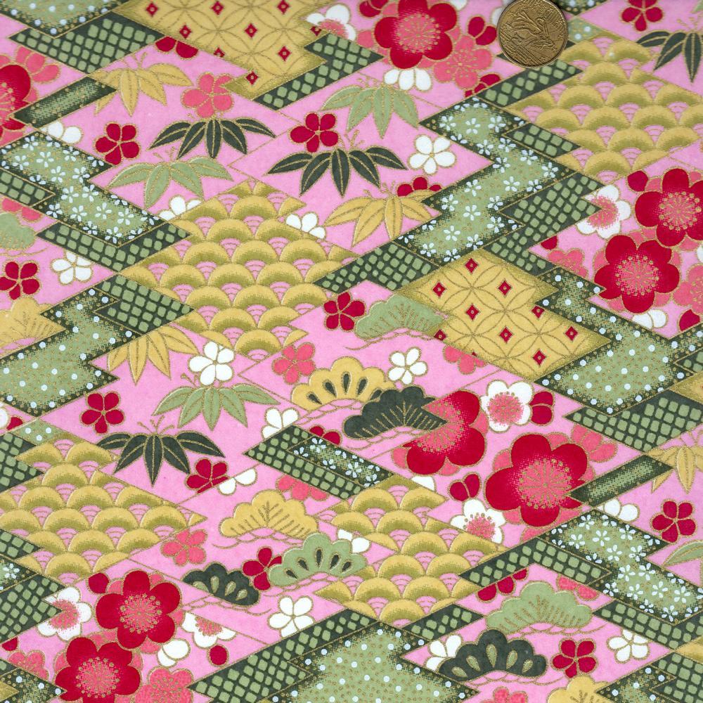 Papier japonais fantaisie rose et vert à motifs géométriques