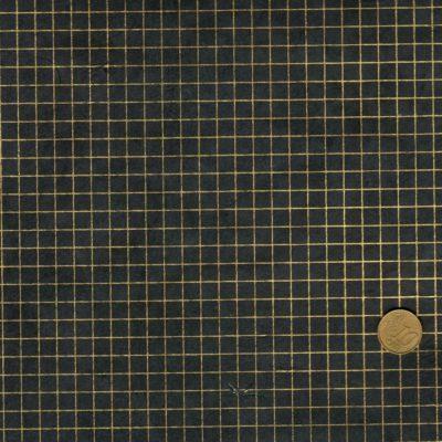 Papier népalais noir avec un quadrillage doré