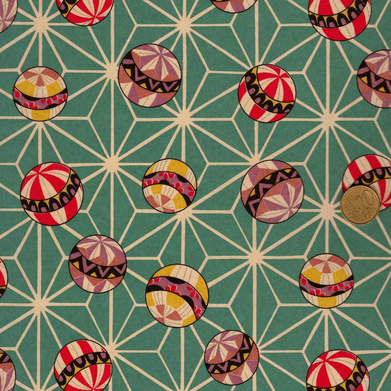 Papier japonais turquoise à boules