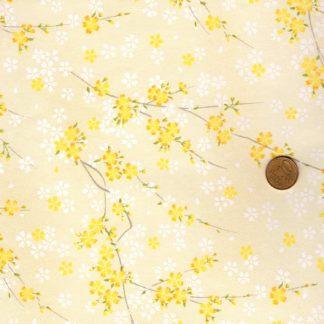 Papier japonais aux fleurs jaunes