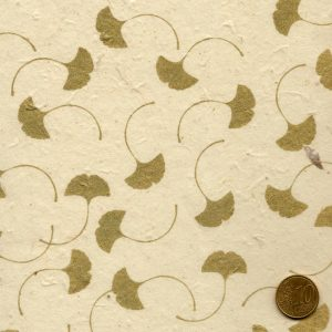 Papier népalais naturel feuilles de gingko dorées