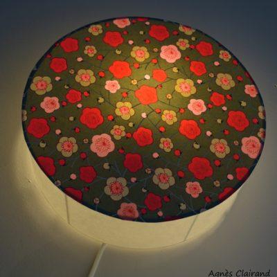 Applique lumineuse murale cylindrique en papier japonais