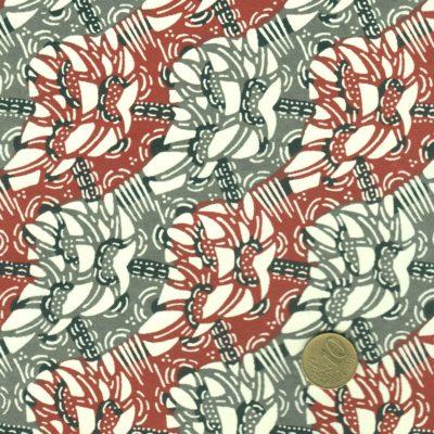 Papier japonais, katazome-shi, otifs abstraits gris et bordeaux