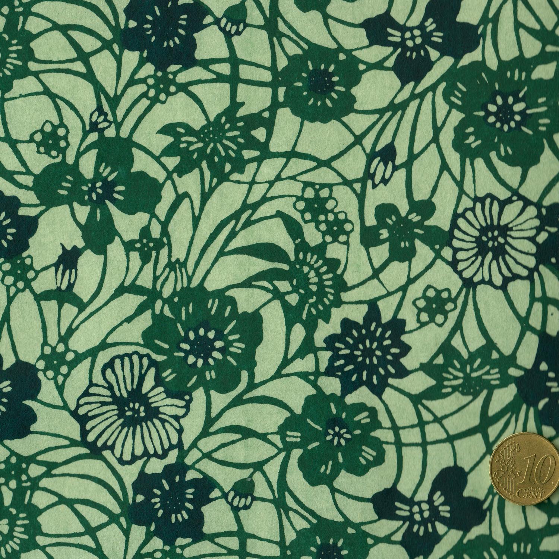 papier japonais katazome-shi vert