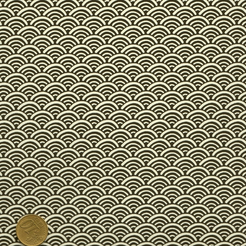 Papier japonais blanc vagues noires