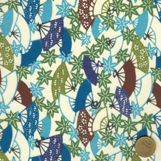papier japonais katazome-she, éventails et feuilles d'érables