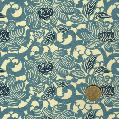 Papier japonais aux fleurs de lotus bleues