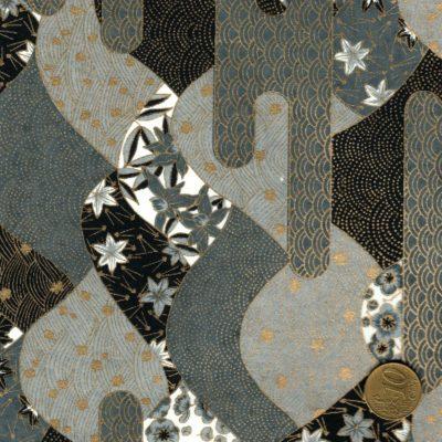 Papier japonais noir gris blanc dore