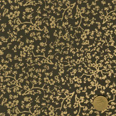 papier japonais noir fleurs dorées
