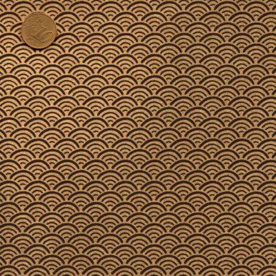 Papier japonais noir vagues dorées