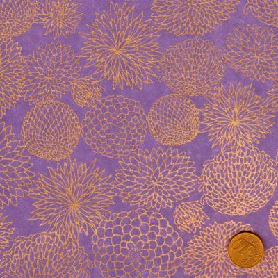 Papier japonais parme fleurs dorees