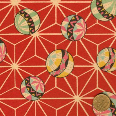 Papier japonais rouge à boules