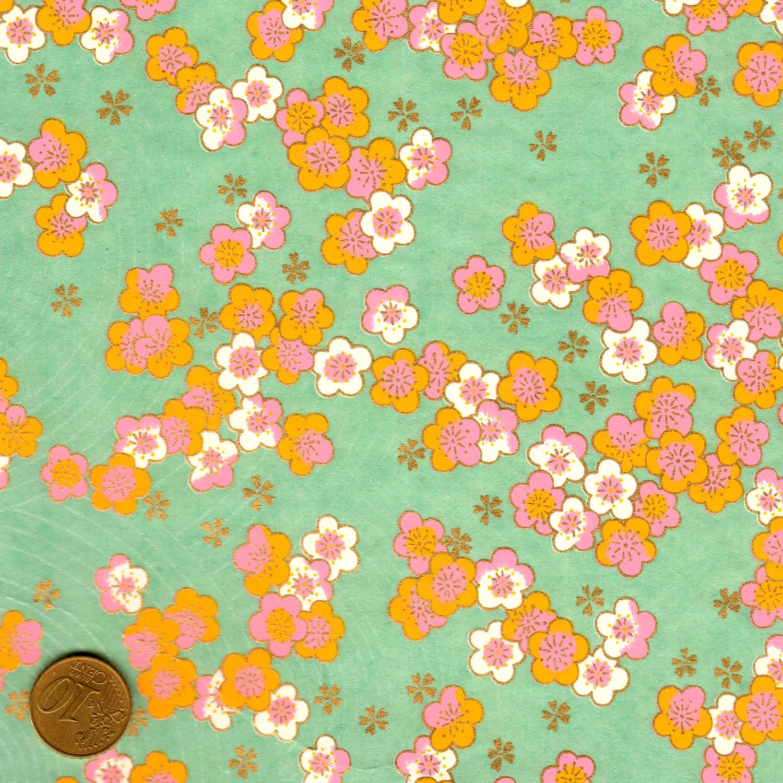 Papier japonais fond turquoise fleurs roses et oranges