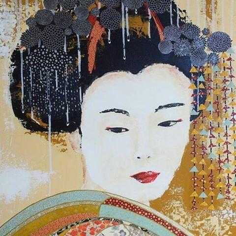 Peinture de kate peintre avec des papiers japonais for Artiste peintre poitiers