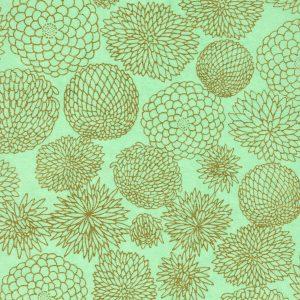 Papier japonais bleu poudré aux chrysanthème dorès