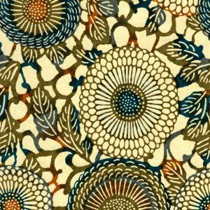 Papier japonais aux chrysanthèmes verts et bleus