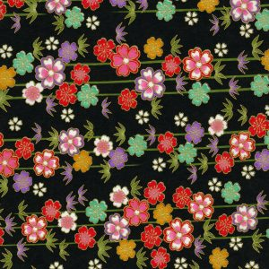 Papier japonais noir et guirlandes de fleurs