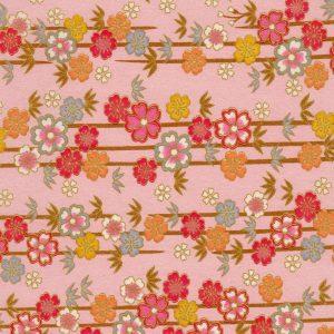 Papier japonais rose nacré et guirlandes de fleurs colorées