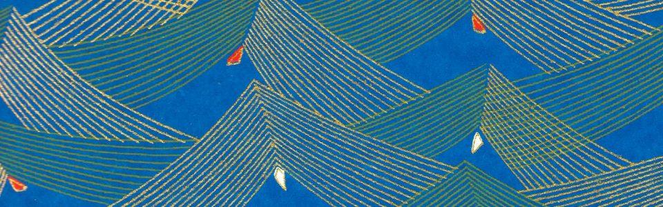 Papier japonais bleu turquoise traits dorés et jaunes