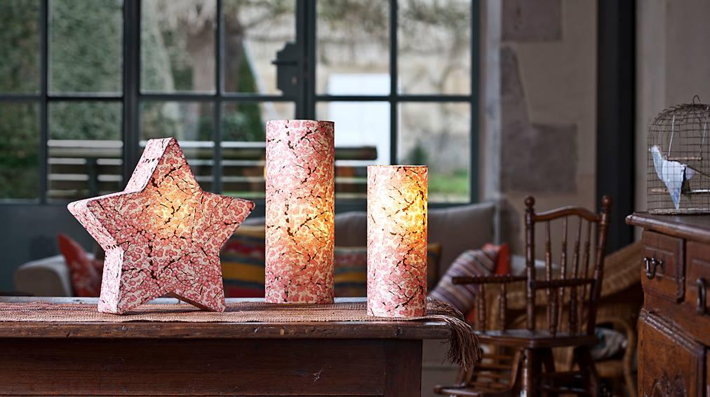 Lampes de chevet en papiers japonais. Agnès Clairand