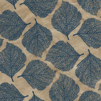 Papier népalais beige feuilles bleues