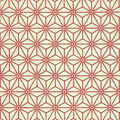 Papier népalais fond naturel motif tête de diamant rouge -orangé