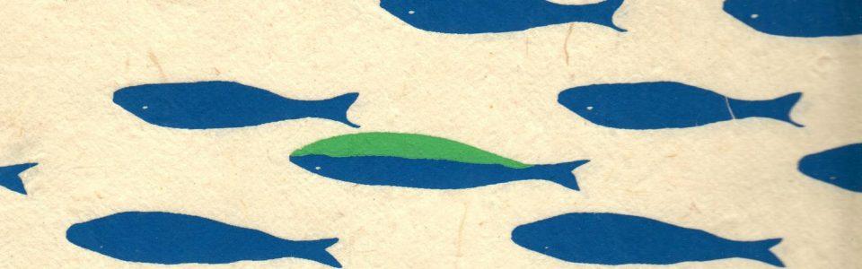 Papier népalais représentant un banc de poissons