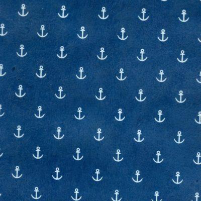 Papier népalais bleu marine ancres de bateaux blanches